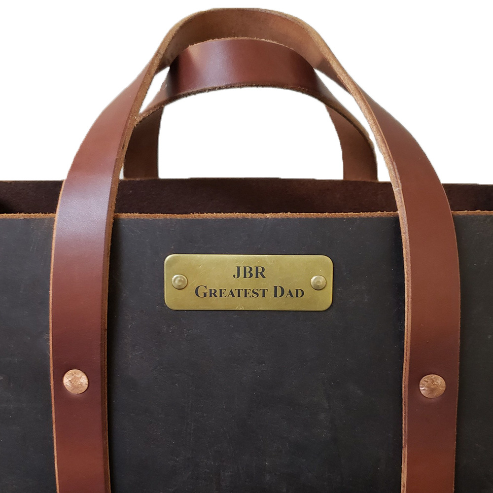 Custom Engraved Brass Plate Affixed to Crazy Horse Black Bag
