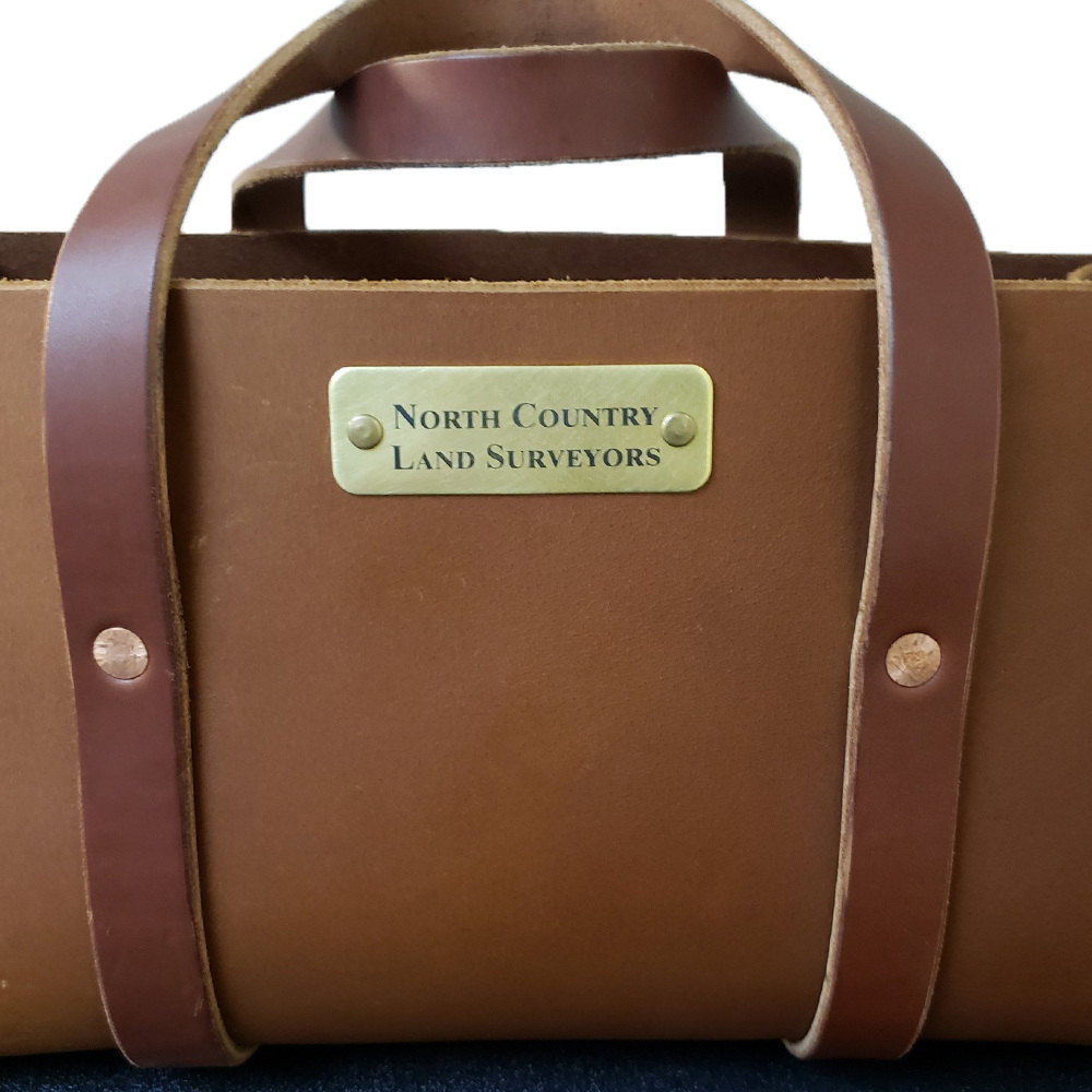 Custom Engraved Brass Plate Affixed to Golden Brown Bag